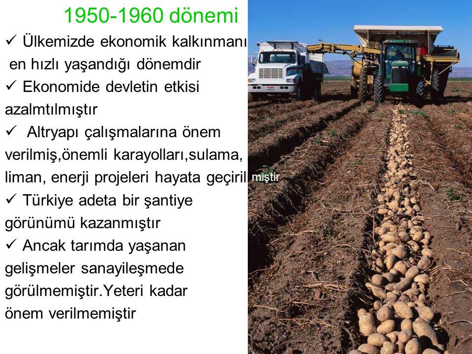 1950-1960 dönemi Ülkemizde ekonomik kalkınmanın