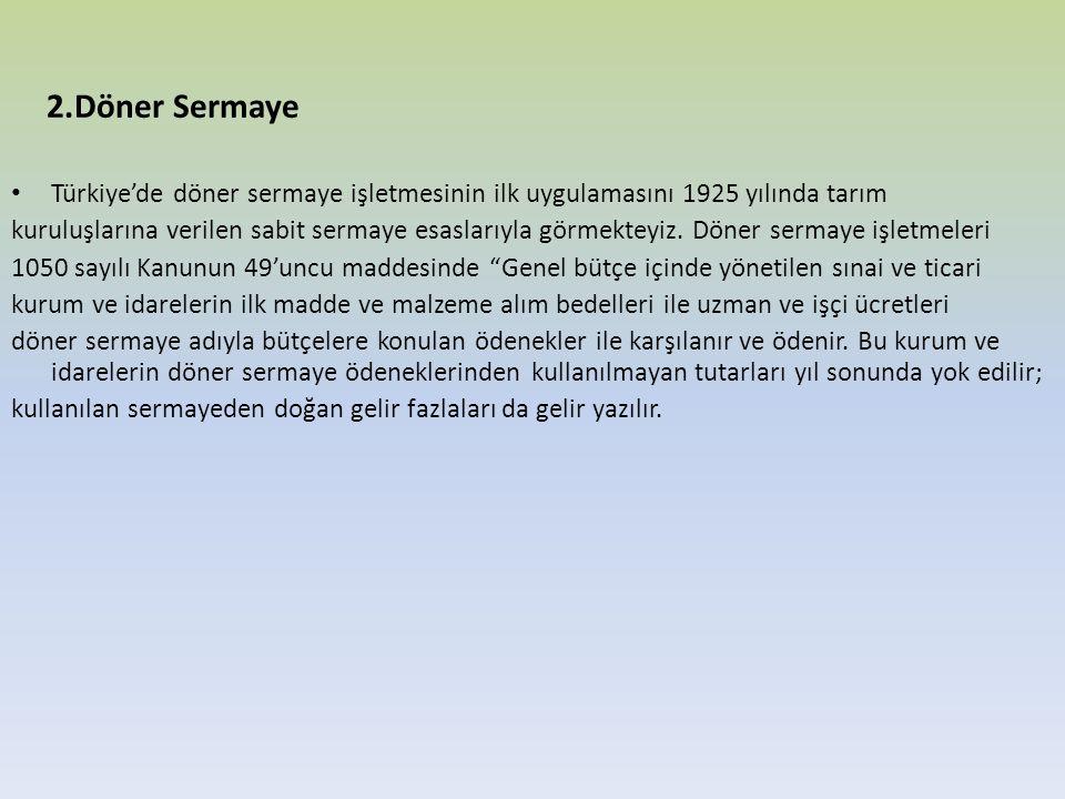 2.Döner Sermaye Türkiye'de döner sermaye işletmesinin ilk uygulamasını 1925 yılında tarım.