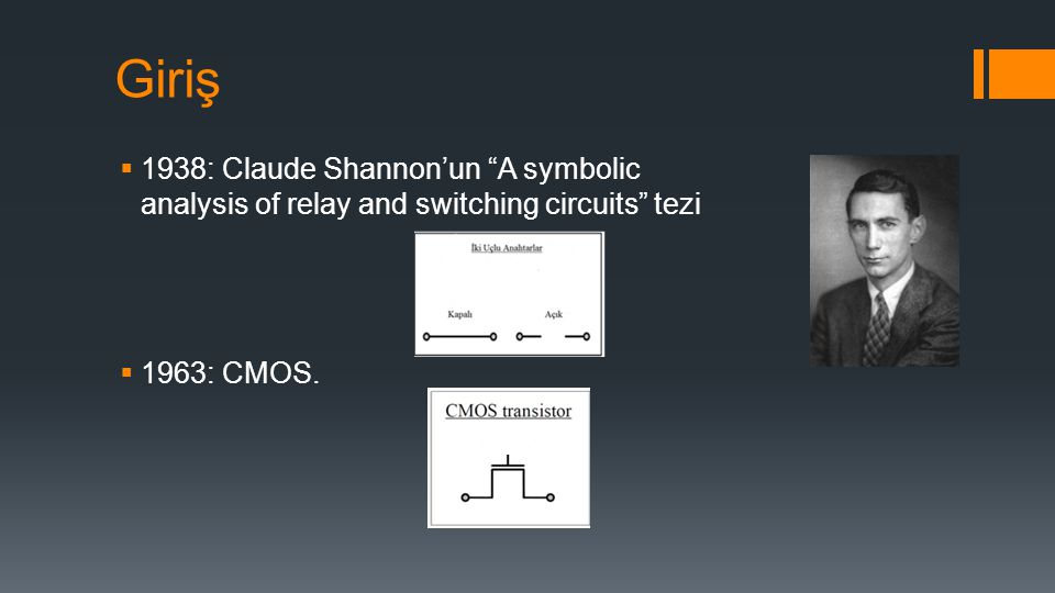 Giriş 1938: Claude Shannon'un A symbolic analysis of relay and switching circuits tezi.