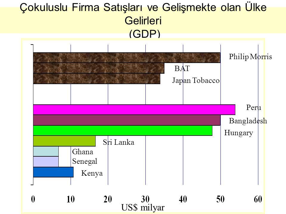 Çokuluslu Firma Satışları ve Gelişmekte olan Ülke Gelirleri (GDP)