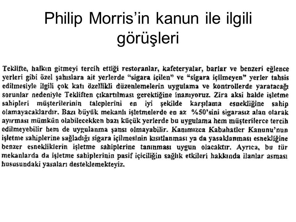 Philip Morris'in kanun ile ilgili görüşleri