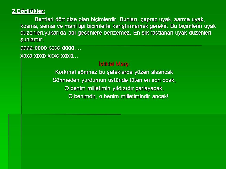 aaaa-bbbb-cccc-dddd…. xaxa-xbxb-xcxc-xdxd… İstiklal Marşı