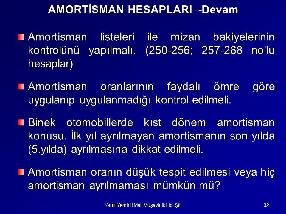 AMORTİSMAN HESAPLARI -Devam