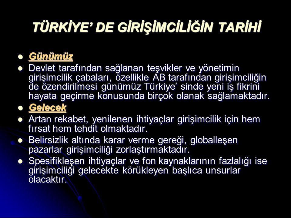 TÜRKİYE' DE GİRİŞİMCİLİĞİN TARİHİ