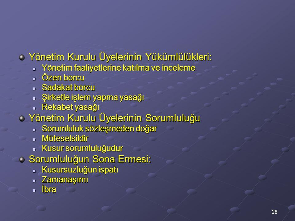 Yönetim Kurulu Üyelerinin Yükümlülükleri: