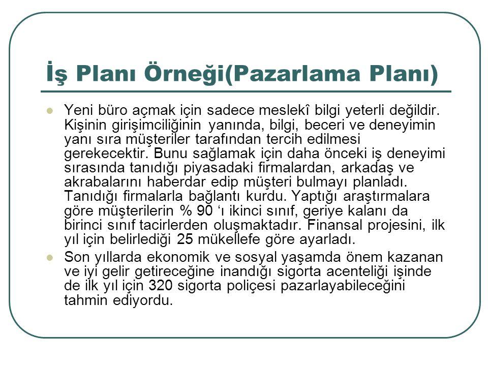 İş Planı Örneği(Pazarlama Planı)