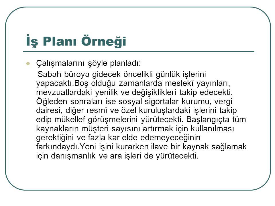 İş Planı Örneği Çalışmalarını şöyle planladı: