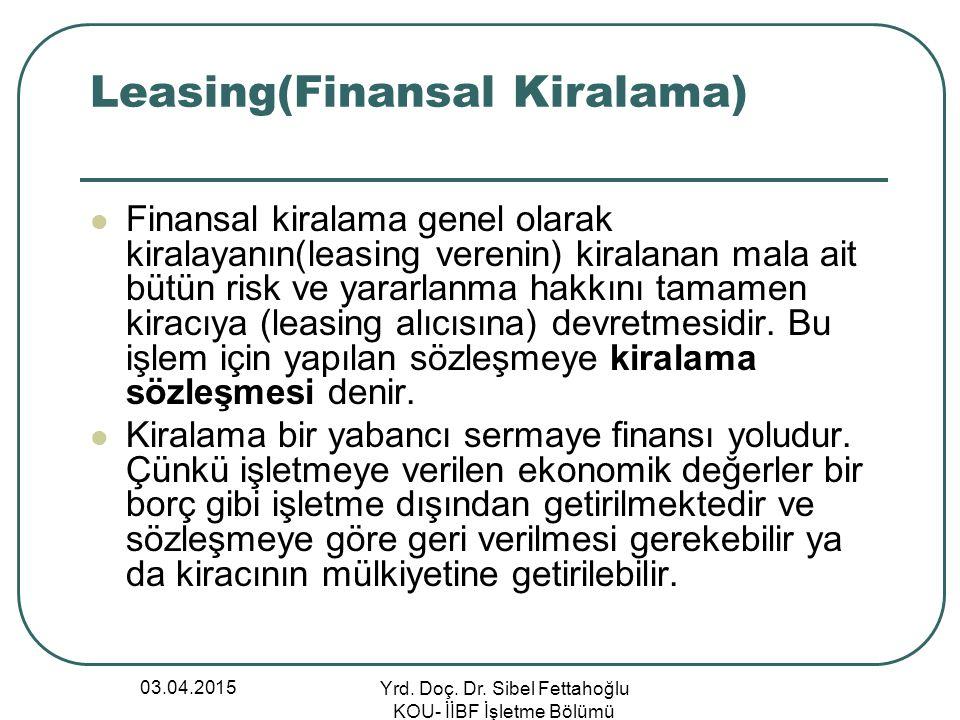 Leasing(Finansal Kiralama)