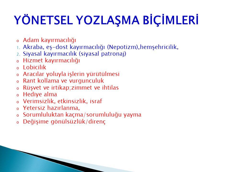 YÖNETSEL YOZLAŞMA BİÇİMLERİ