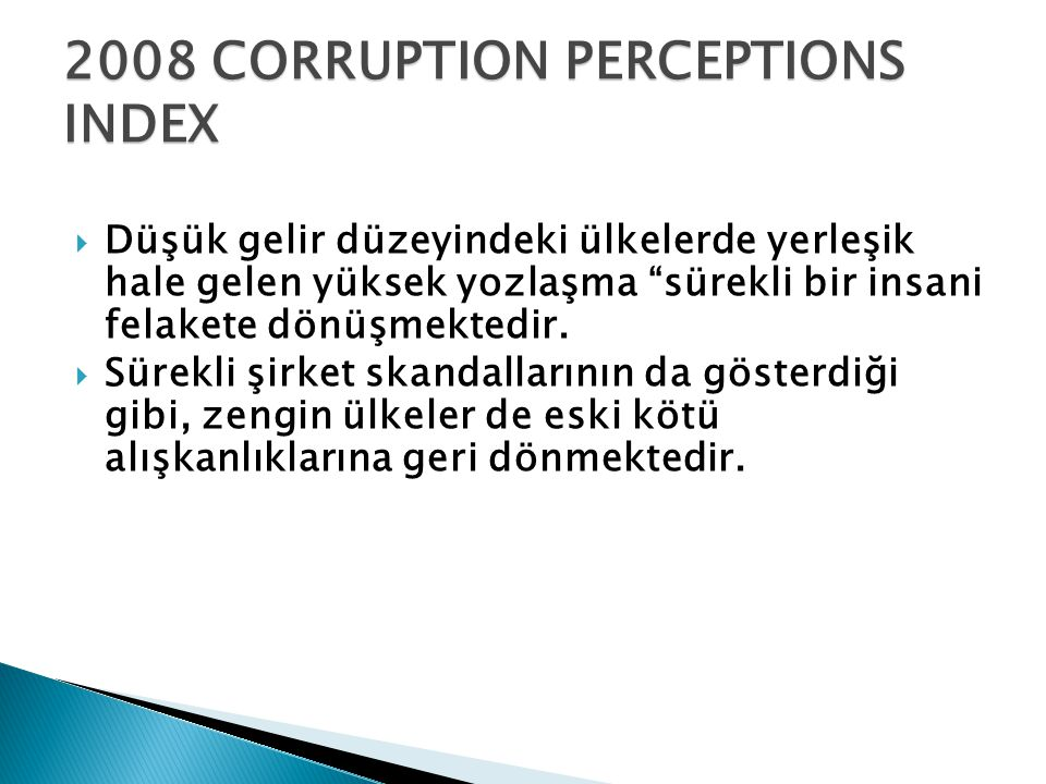 2008 CORRUPTION PERCEPTIONS INDEX