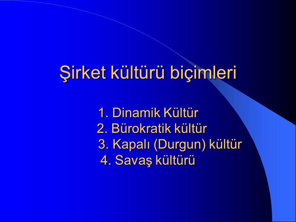 Şirket kültürü biçimleri 1. Dinamik Kültür 2. Bürokratik kültür 3