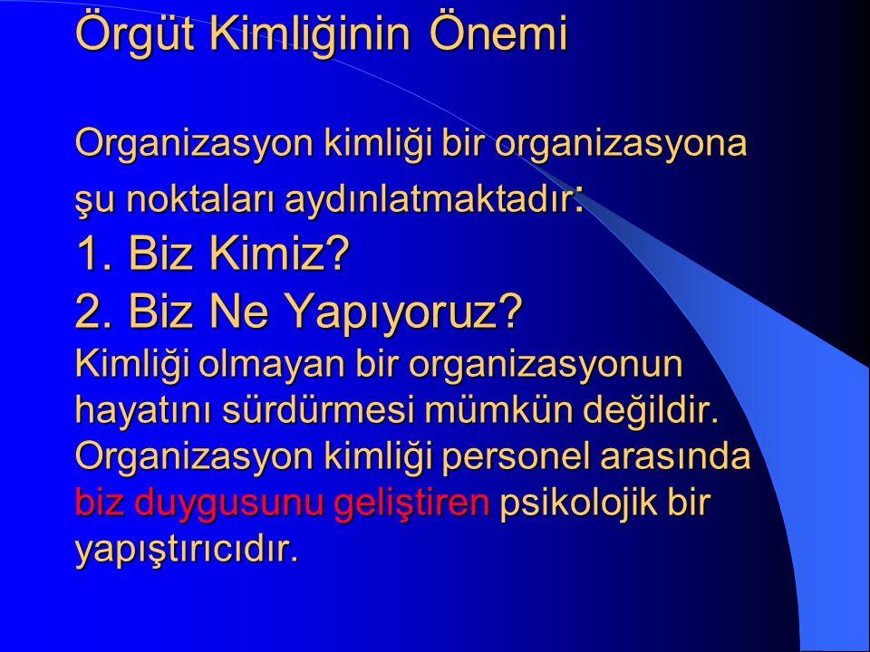 Örgüt Kimliğinin Önemi Organizasyon kimliği bir organizasyona şu noktaları aydınlatmaktadır: 1.