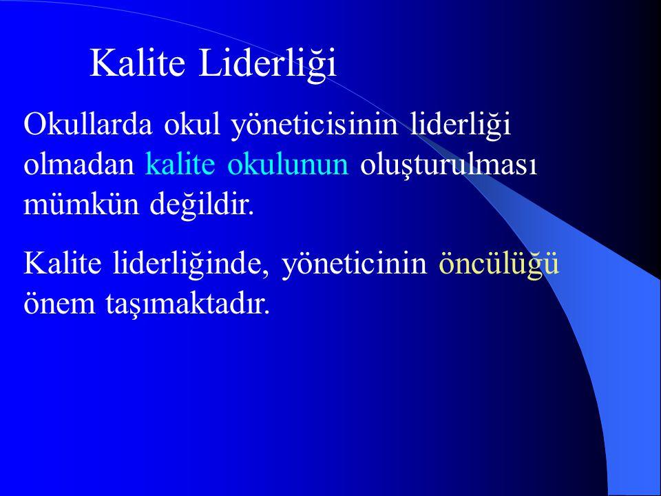 Kalite Liderliği Okullarda okul yöneticisinin liderliği olmadan kalite okulunun oluşturulması mümkün değildir.