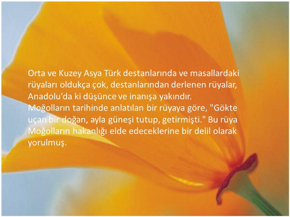 Orta ve Kuzey Asya Türk destanlarında ve masallardaki rüyaları oldukça çok, destanlarından derlenen rüyalar, Anadolu'da ki düşünce ve inanışa yakındır.