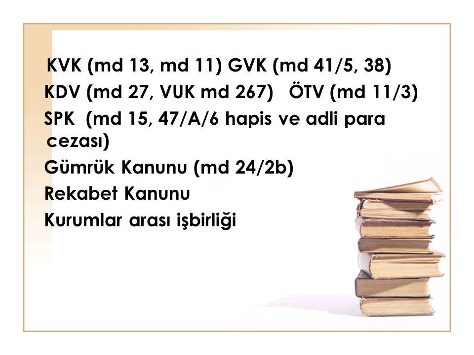 KVK (md 13, md 11) GVK (md 41/5, 38) KDV (md 27, VUK md 267) ÖTV (md 11/3) SPK (md 15, 47/A/6 hapis ve adli para cezası)