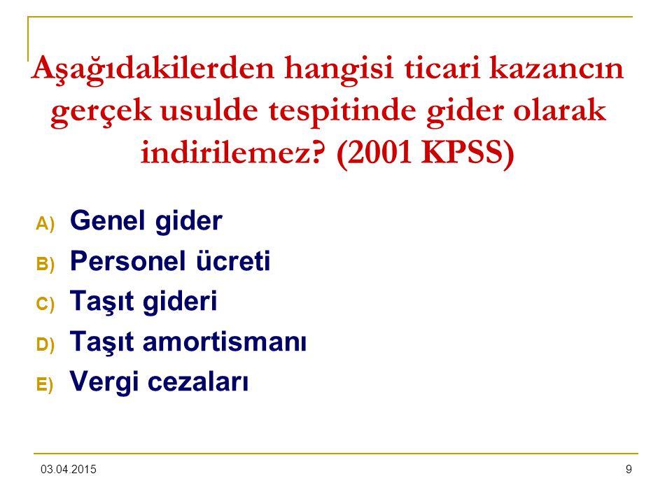 Aşağıdakilerden hangisi ticari kazancın gerçek usulde tespitinde gider olarak indirilemez (2001 KPSS)