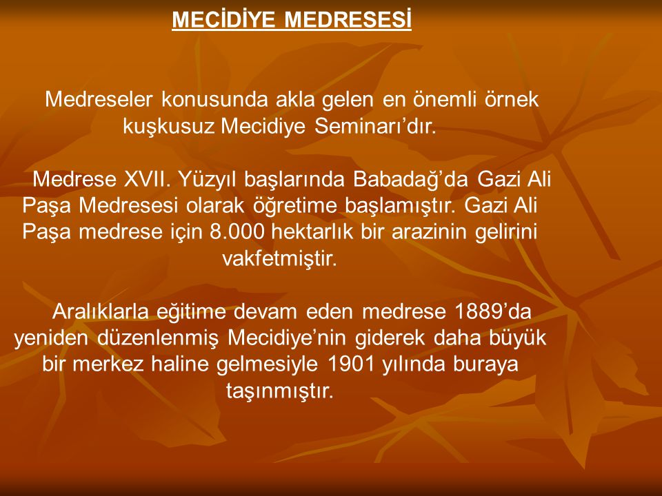 MECİDİYE MEDRESESİ Medreseler konusunda akla gelen en önemli örnek kuşkusuz Mecidiye Seminarı'dır.