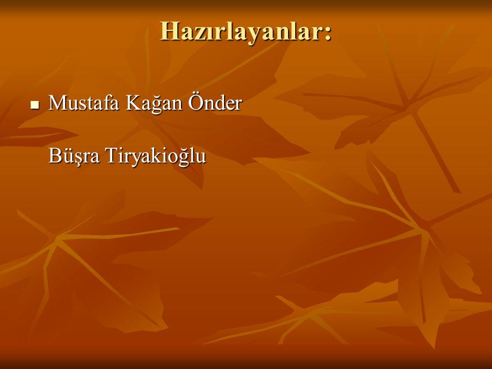 Hazırlayanlar: Mustafa Kağan Önder Büşra Tiryakioğlu