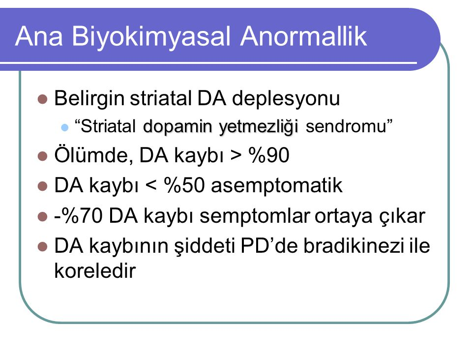 Ana Biyokimyasal Anormallik