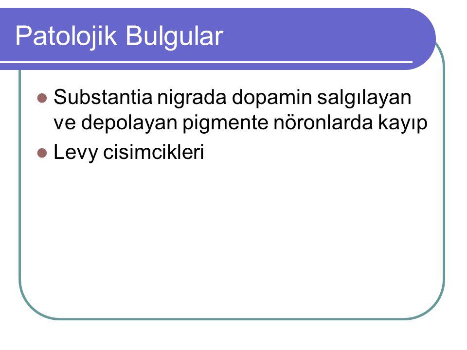 Patolojik Bulgular Substantia nigrada dopamin salgılayan ve depolayan pigmente nöronlarda kayıp.