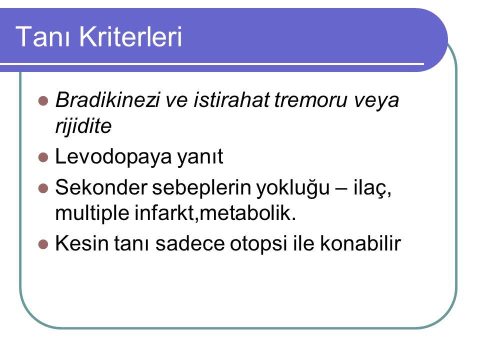 Tanı Kriterleri Bradikinezi ve istirahat tremoru veya rijidite