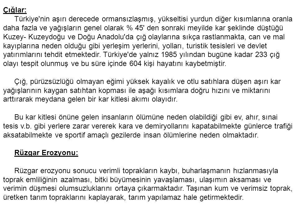 Çığlar: Türkiye nin aşırı derecede ormansızlaşmış, yükseltisi yurdun diğer kısımlarına oranla