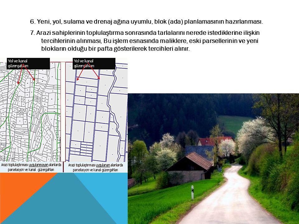 6. Yeni, yol, sulama ve drenaj ağına uyumlu, blok (ada) planlamasının hazırlanması.