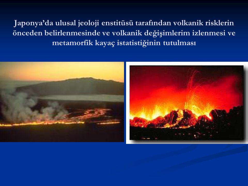 Japonya'da ulusal jeoloji enstitüsü tarafından volkanik risklerin önceden belirlenmesinde ve volkanik değişimlerim izlenmesi ve metamorfik kayaç istatistiğinin tutulması