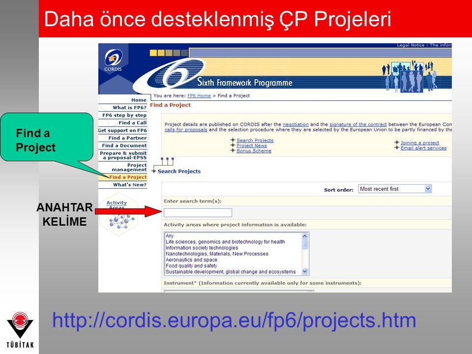 Daha önce desteklenmiş ÇP Projeleri