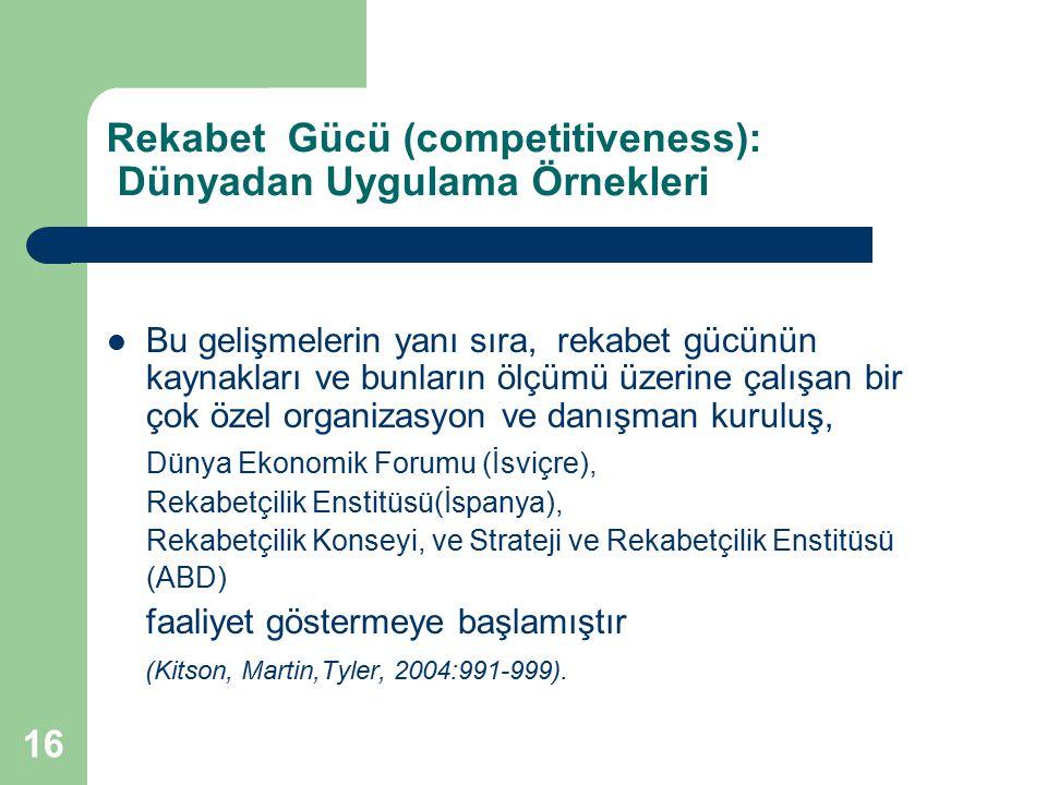 Rekabet Gücü (competitiveness): Dünyadan Uygulama Örnekleri