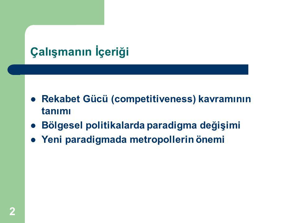 Çalışmanın İçeriği Rekabet Gücü (competitiveness) kavramının tanımı