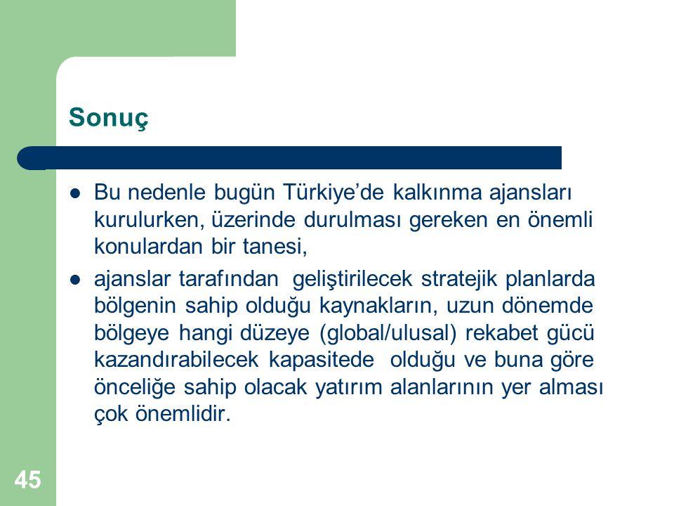 Sonuç Bu nedenle bugün Türkiye'de kalkınma ajansları kurulurken, üzerinde durulması gereken en önemli konulardan bir tanesi,