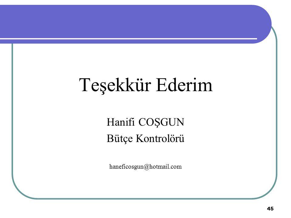 Teşekkür Ederim Hanifi COŞGUN Bütçe Kontrolörü