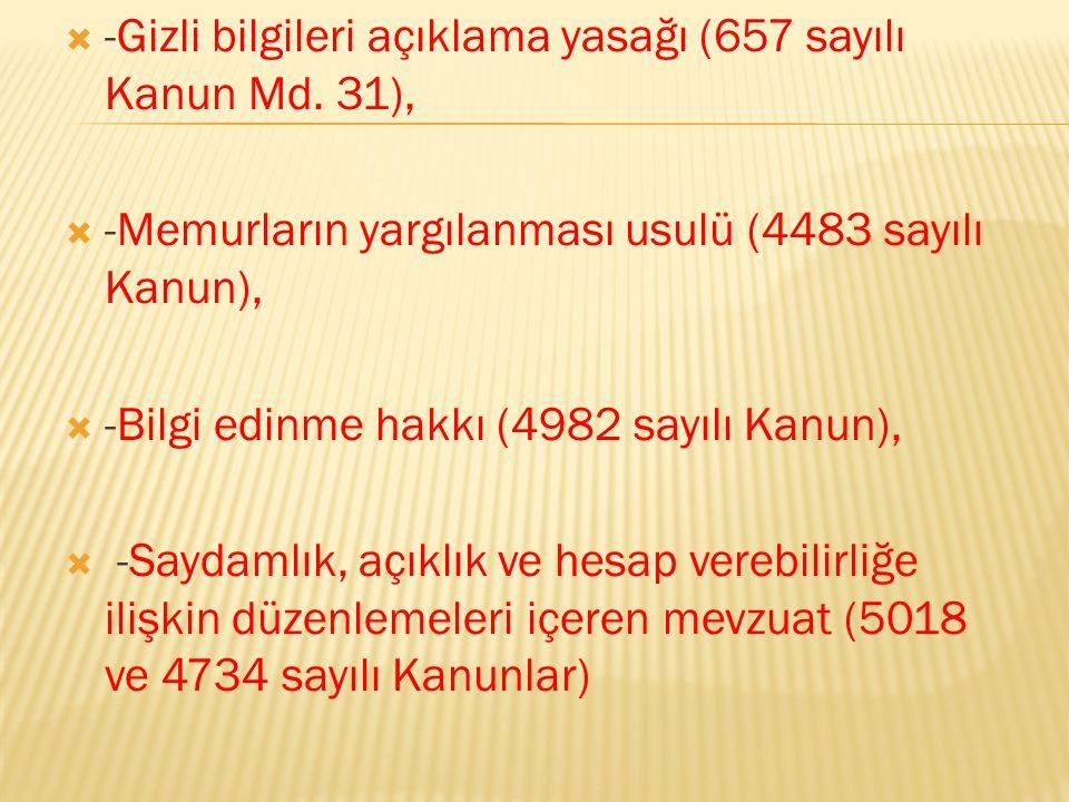 -Gizli bilgileri açıklama yasağı (657 sayılı Kanun Md. 31),