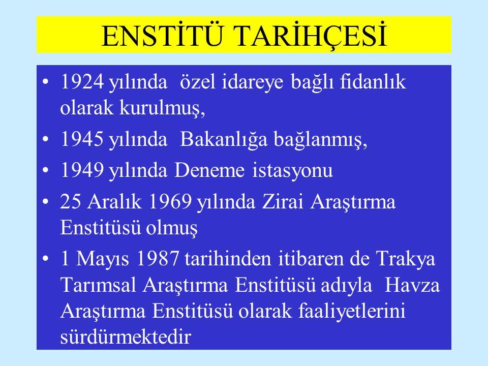 ENSTİTÜ TARİHÇESİ 1924 yılında özel idareye bağlı fidanlık olarak kurulmuş, 1945 yılında Bakanlığa bağlanmış,