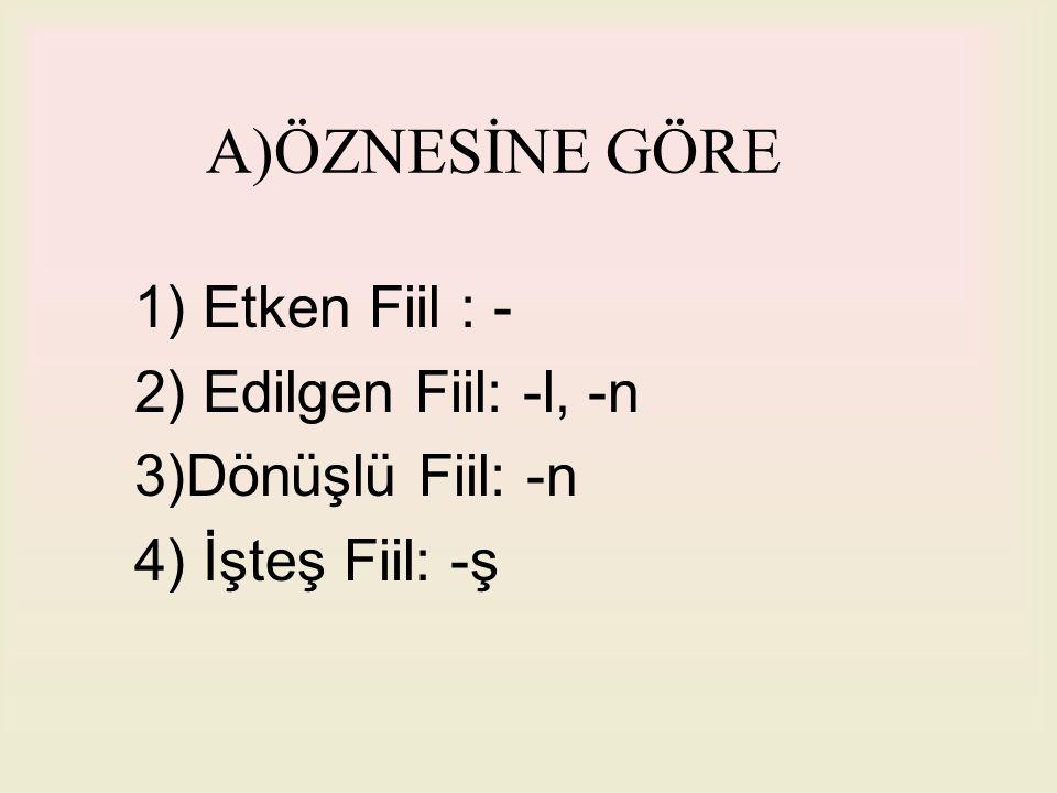 A)ÖZNESİNE GÖRE 1) Etken Fiil : - 2) Edilgen Fiil: -l, -n