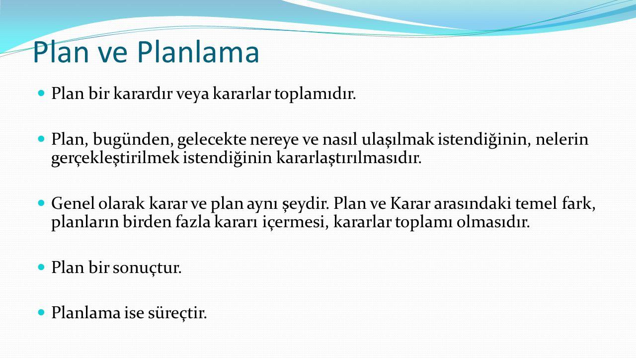 Plan ve Planlama Plan bir karardır veya kararlar toplamıdır.