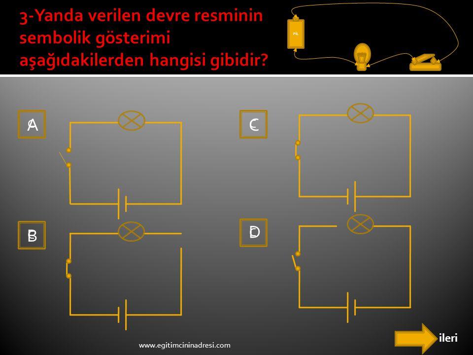 PİL 3-Yanda verilen devre resminin sembolik gösterimi aşağıdakilerden hangisi gibidir C. A. C. C.