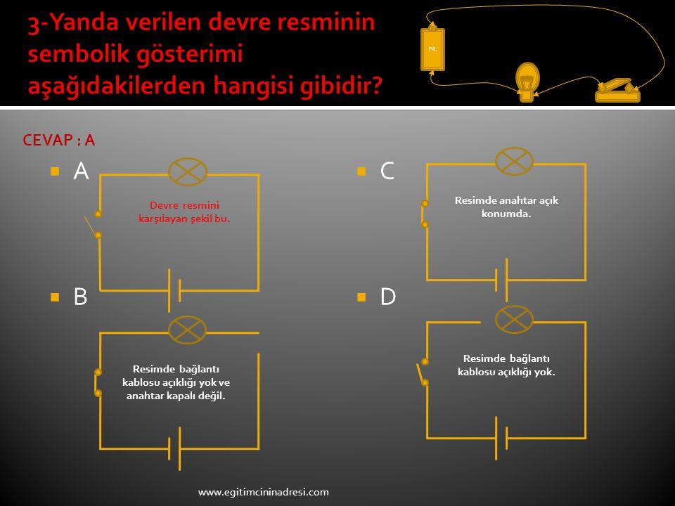 PİL 3-Yanda verilen devre resminin sembolik gösterimi aşağıdakilerden hangisi gibidir CEVAP : A. A.