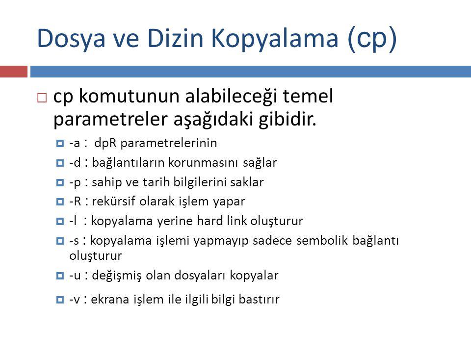Dosya ve Dizin Kopyalama (cp)