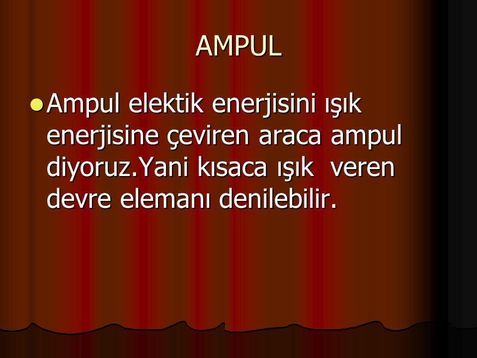 AMPUL Ampul elektik enerjisini ışık enerjisine çeviren araca ampul diyoruz.Yani kısaca ışık veren devre elemanı denilebilir.