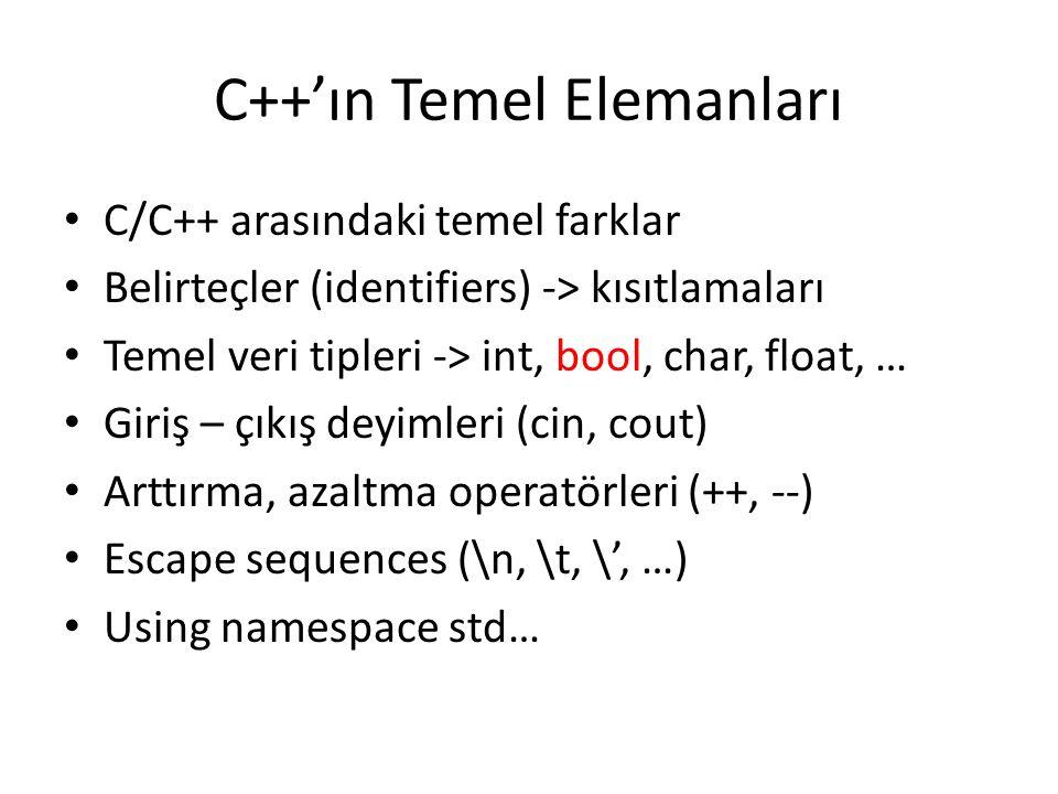C++'ın Temel Elemanları