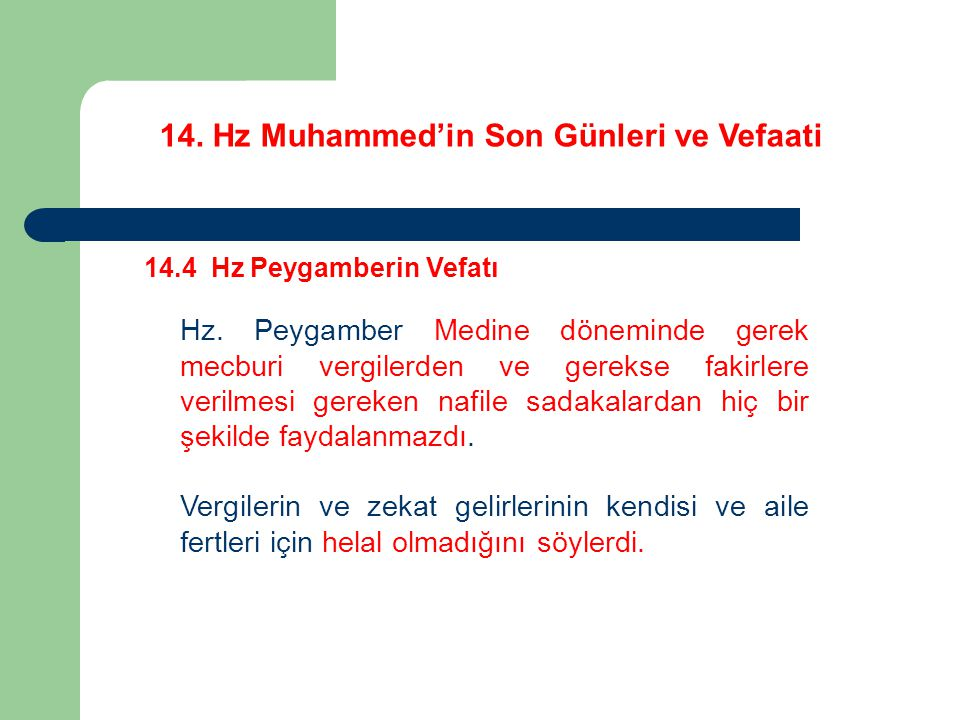 14. Hz Muhammed'in Son Günleri ve Vefaati