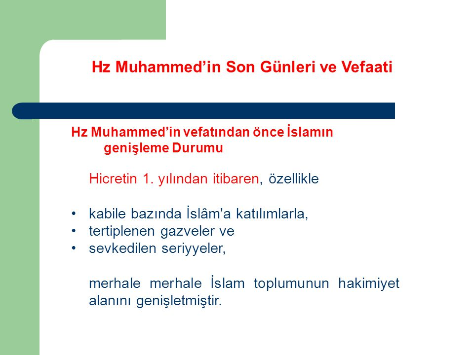Hz Muhammed'in Son Günleri ve Vefaati