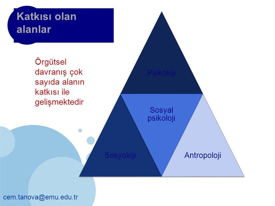Katkısı olan alanlar Psikoloji. Sosyoloji. Sosyal psikoloji. Antropoloji. Örgütsel davranış çok sayıda alanın katkısı ile gelişmektedir.