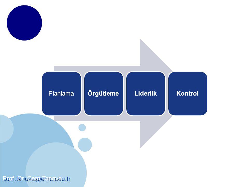 Yönetim Süreci Planlama Örgütleme Liderlik Kontrol
