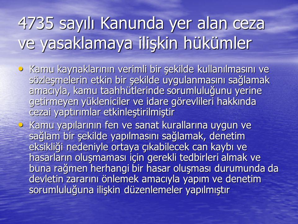 4735 sayılı Kanunda yer alan ceza ve yasaklamaya ilişkin hükümler
