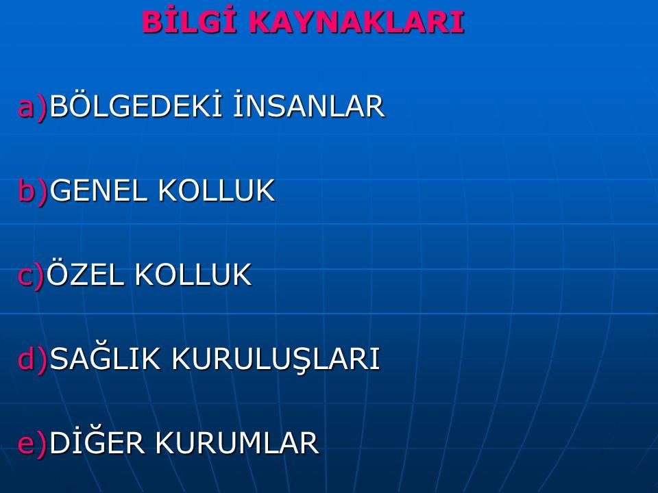 BİLGİ KAYNAKLARI a)BÖLGEDEKİ İNSANLAR. b)GENEL KOLLUK.