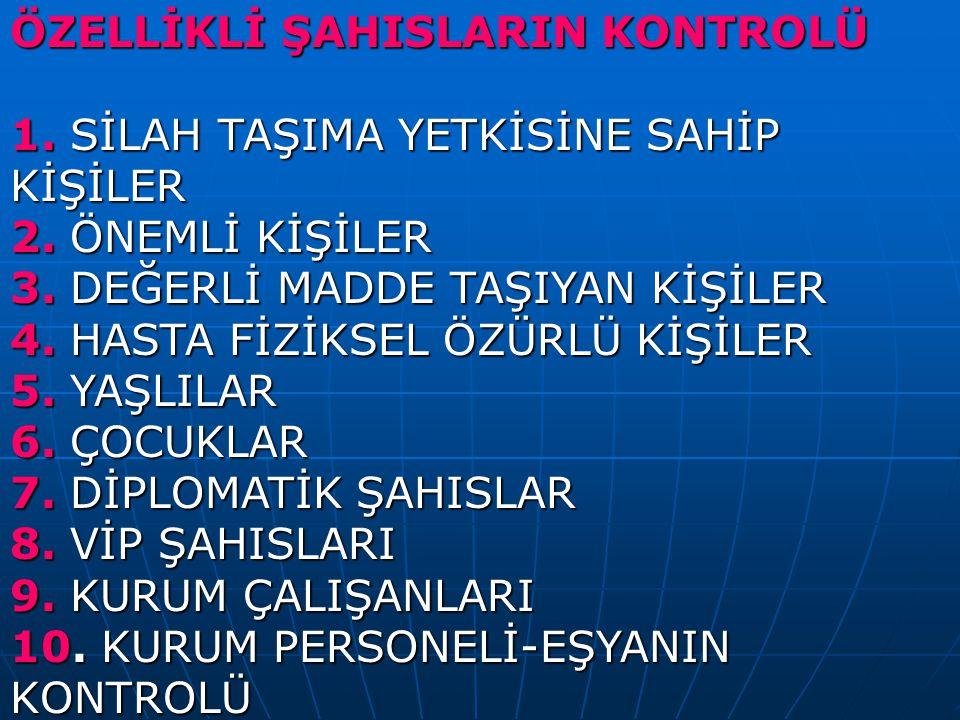ÖZELLİKLİ ŞAHISLARIN KONTROLÜ
