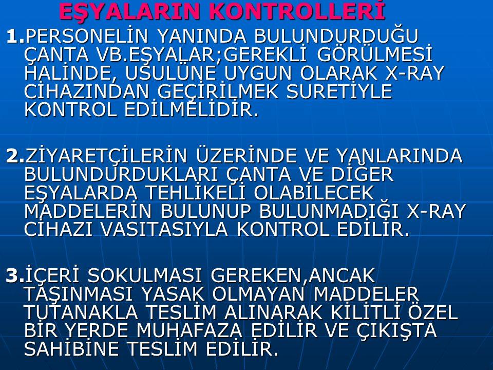 EŞYALARIN KONTROLLERİ